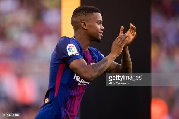 Nelson Semedo of FC Barcelona enters the pitch ahead of the Joan Gamper Trophy match between FC Barcelona and Chapecoense at Camp Nou stadium on...