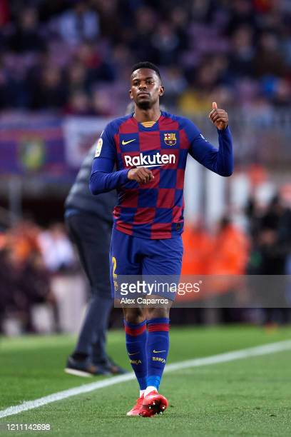 Nelson Semedo of FC Barcelona gives his thumb up during the Liga match between FC Barcelona and Real Sociedad at Camp Nou on March 07 2020 in...