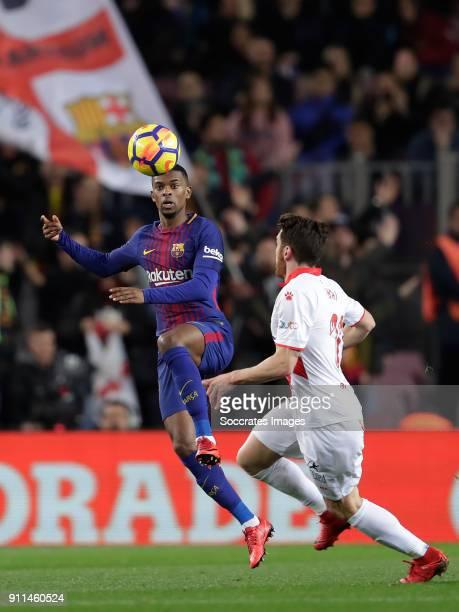 Nelson Semedo of FC Barcelona Ibai Gomez of Deportivo Alaves during the La Liga Santander match between FC Barcelona v Deportivo Alaves at the Camp...