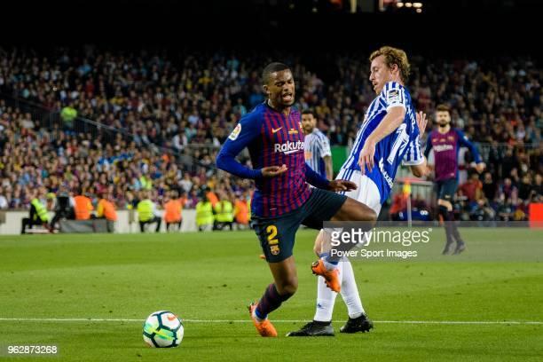 Nelson Semedo of FC Barcelona in action against David Zurutuza Veillet of Real Sociedad during the La Liga match between Barcelona and Real Sociedad...