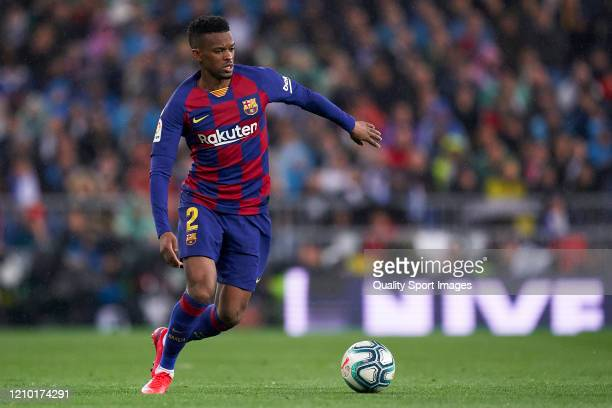Nelson Semedo of FC Barcelona in action during the La Liga match between Real Madrid CF and FC Barcelona at Estadio Santiago Bernabeu on March 01...