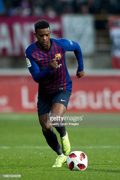 Nelson Semedo of FC Barcelona in action during the Spanish Copa del Rey match between Cultura Leonesa and FC Barcelona at Estadio Reino de Leon on...