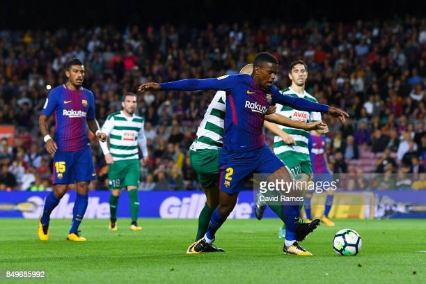 Nelson Semedo of FC Barcelona is brought down by Alejandro Galvez of SD Eibar for a penalty during the La Liga match between Barcelona and SD Eibar...
