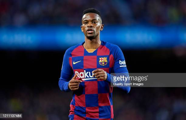 Nelson Semedo of FC Barcelona looks on during the Liga match between FC Barcelona and Real Sociedad at Camp Nou on March 07 2020 in Barcelona Spain