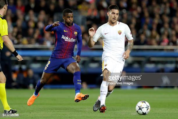 Nelson Semedo of FC Barcelona Lorenzo Pellegrini of AS Roma during the UEFA Champions League match between FC Barcelona v AS Roma at the Camp Nou on...