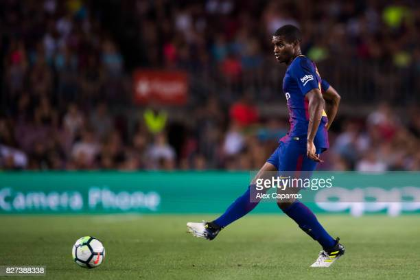 Nelson Semedo of FC Barcelona plays the ball during the Joan Gamper Trophy match between FC Barcelona and Chapecoense at Camp Nou stadium on August 7...