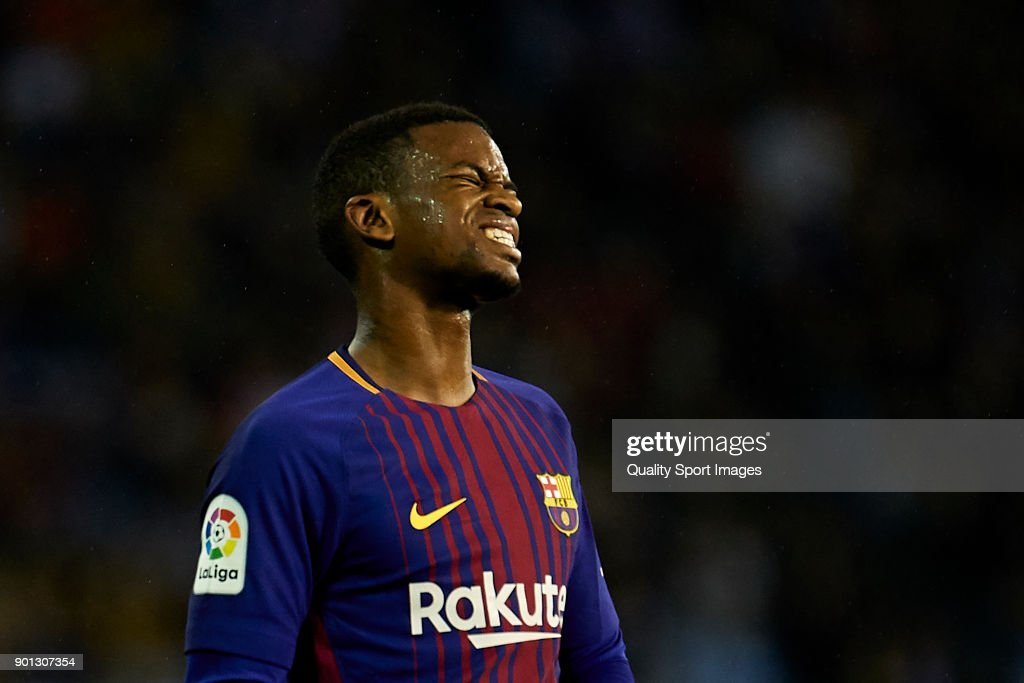 Nelson Semedo of FC Barcelona reacts during the Copa del Rey, Round of 16, first Leg match between Celta de Vigo and FC Barcelona at Estadio de Balaidos on January 4, 2018 in Vigo, Spain.