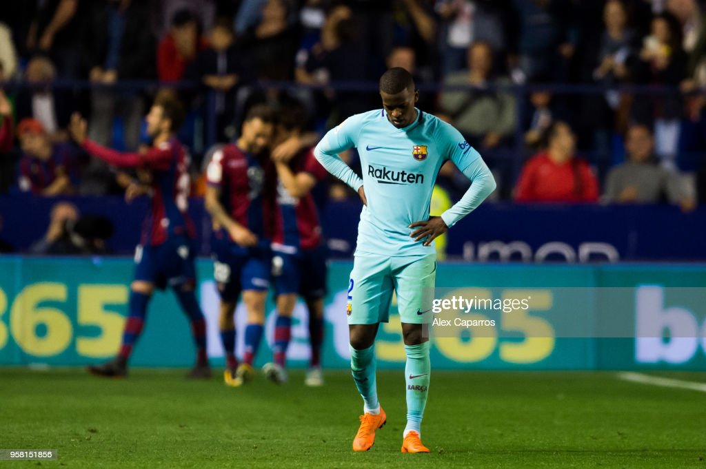 Nelson Semedo of FC Barcelona reacts during the La Liga match between Levante UD and FC Barcelona at Estadi Ciutat de Valencia on May 13, 2018 in Valencia, Spain.