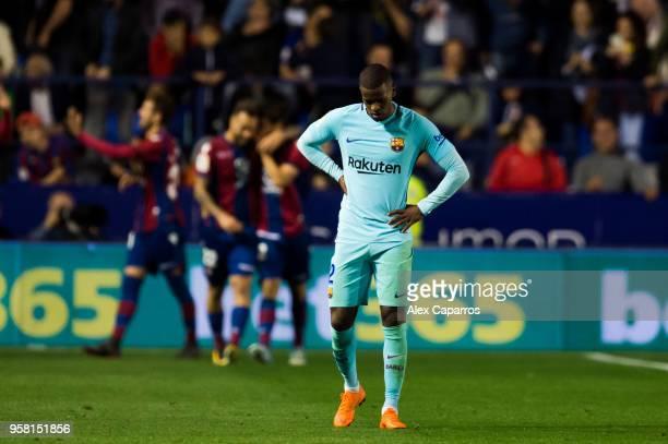 Nelson Semedo of FC Barcelona reacts during the La Liga match between Levante UD and FC Barcelona at Estadi Ciutat de Valencia on May 13 2018 in...
