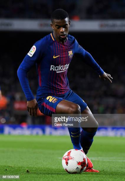 Nelson Semedo of FC Barcelona runs with the ball during the Copa del Rey round of 32 second leg match between FC Barcelona and Real Murcia at Camp...