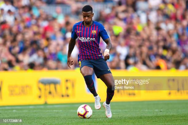 Nelson Semedo of FC Barcelona runs with the ball during the Joan Gamper Trophy match between FC Barcelona and Boca Juniors at Camp Nou on August 15...