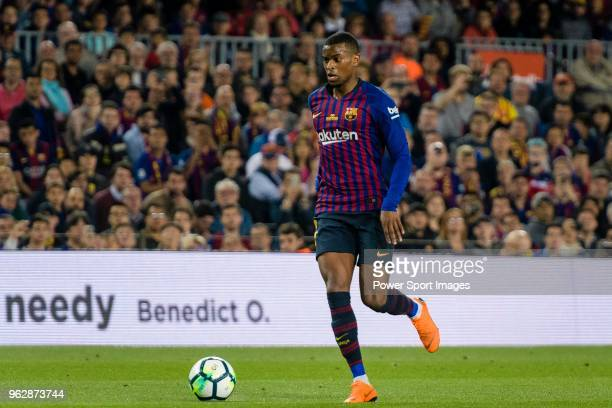 Nelson Semedo of FC Barcelona runs with the ball during the La Liga match between Barcelona and Real Sociedad at Camp Nou on May 20 2018 in Barcelona