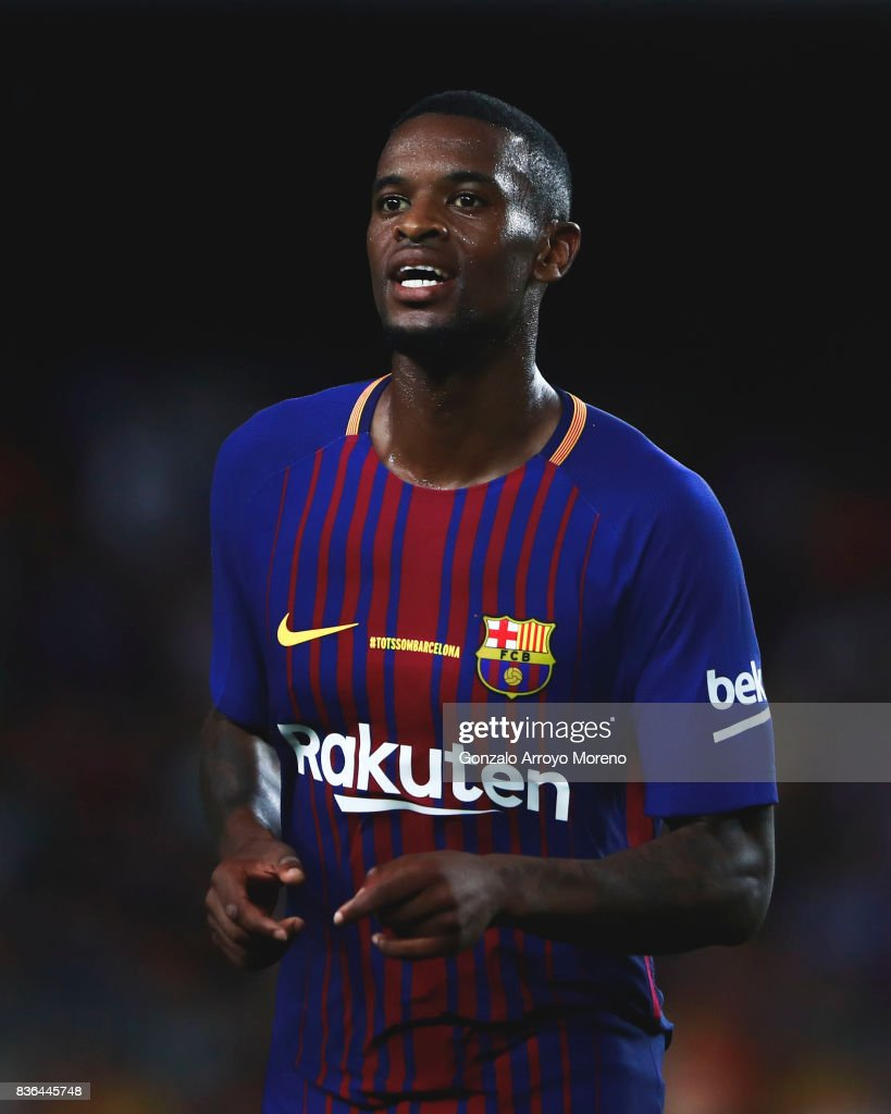 Nelson Semedo of FC Barcelona smiles during the La Liga match between FC Barcelona and Real Betis Balompie at Camp Nou stadium on August 20, 2017 in Barcelona, Spain.