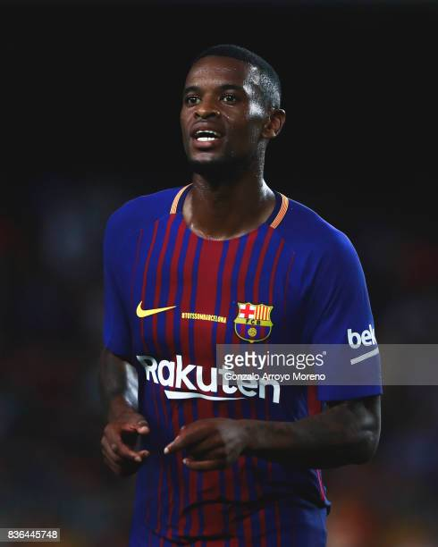 Nelson Semedo of FC Barcelona smiles during the La Liga match between FC Barcelona and Real Betis Balompie at Camp Nou stadium on August 20 2017 in...
