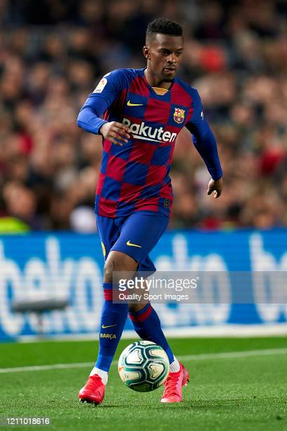 Nelson Semedo of FC Barcelona with the ball during the Liga match between FC Barcelona and Real Sociedad at Camp Nou on March 07 2020 in Barcelona...