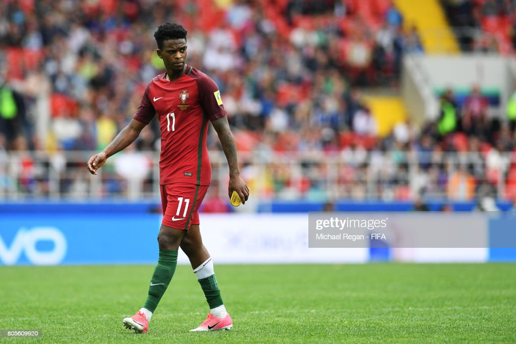 Nelson Semedo of Portugal walks off dejected after being sent off during the FIFA Confederations Cup Russia 2017 Play-Off for Third Place between Portugal and Mexico at Spartak Stadium on July 2, 2017 in Moscow, Russia.