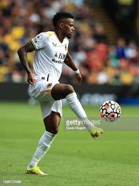 Nelson Semedo of Wolverhampton Wanderers controls the ball during the Premier League match between Watford and Wolverhampton Wanderers at Vicarage...