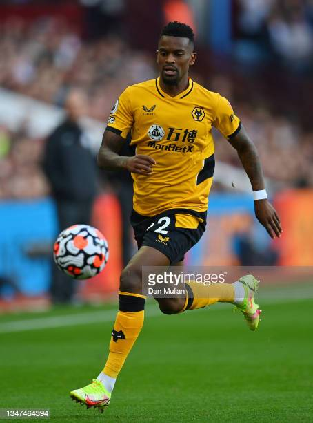 Nelson Semedo of Wolverhampton Wanderers in action during the Premier League match between Aston Villa and Wolverhampton Wanderers at Villa Park on...