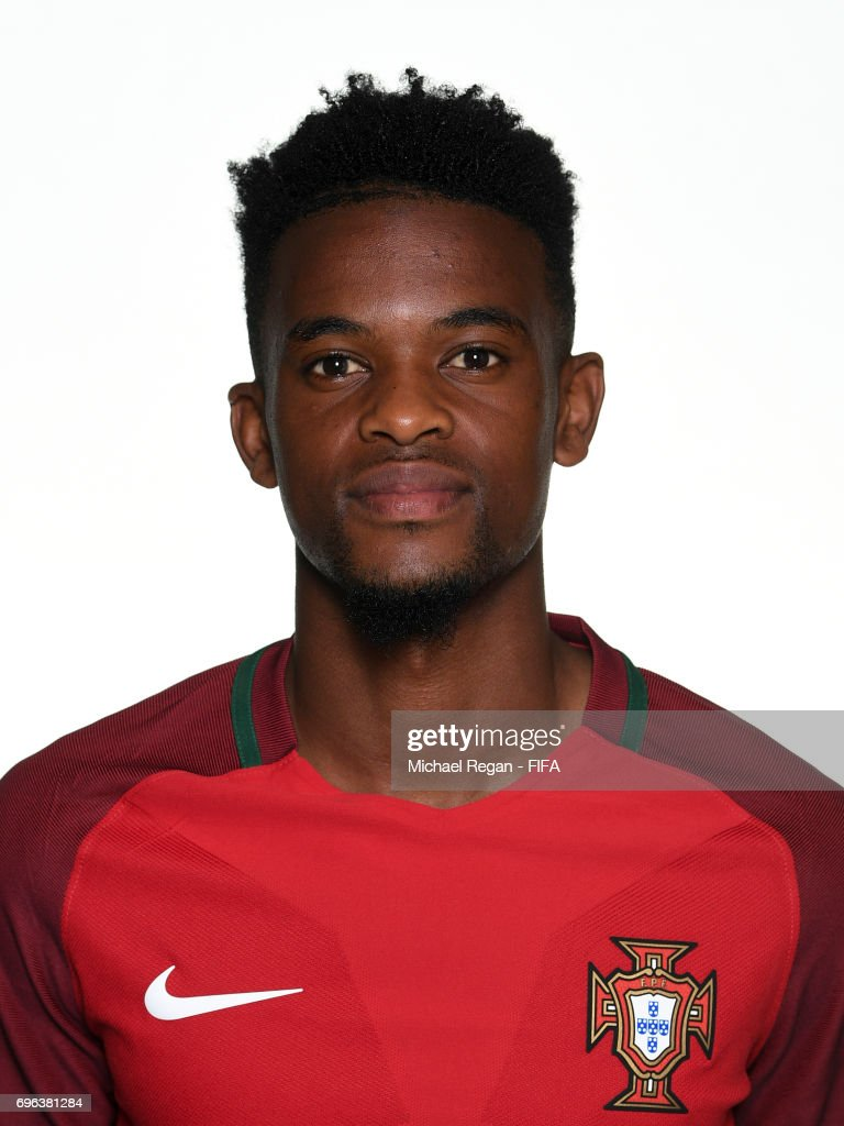 Nelson Semedo poses for a picture during the Portugal team portrait session on June 15, 2017 in Kazan, Russia.