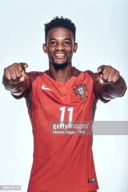 Nelson Semedo poses for a picture during the Portugal team portrait session on June 15 2017 in Kazan Russia