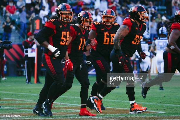 Nelson Spruce of the LA Wildcats celebrates with his teammates after scoring a touchdown against the Dallas Renegades at Dignity Health Sports Park...
