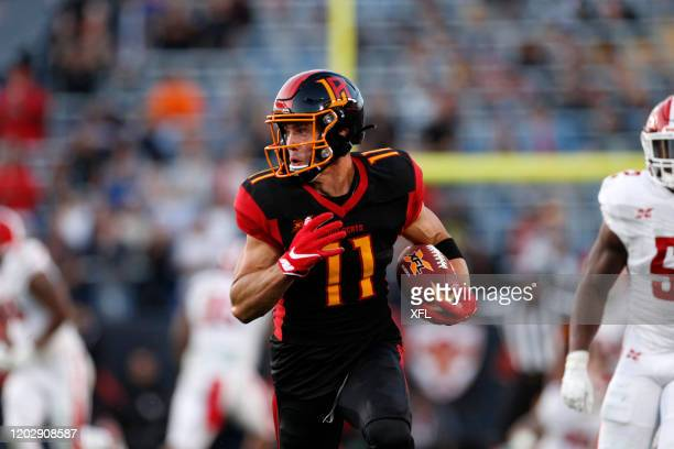 Nelson Spruce of the LA Wildcats runs after a catch during the XFL game against the DC Defenders at Dignity Health Sports Park on February 23, 2020...