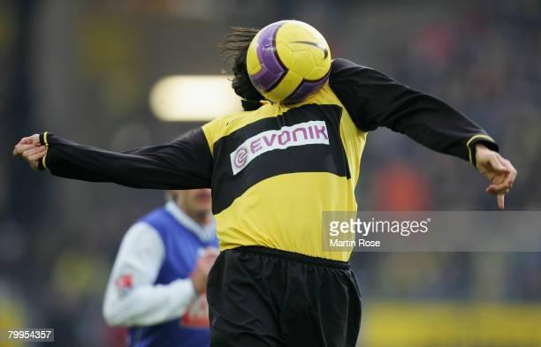 Nelson Valdez of Dortmund stops the ball during the Bundesliga match between Borussia Dortmund and Hansa Rostock at the Signal Iduna Park on February...