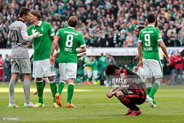 Nelson Valdez of Frankfurt appears frustrated after the First Bundesliga match between SV Werder Bremen and Eintracht Frankfurt at Weserstadion on...