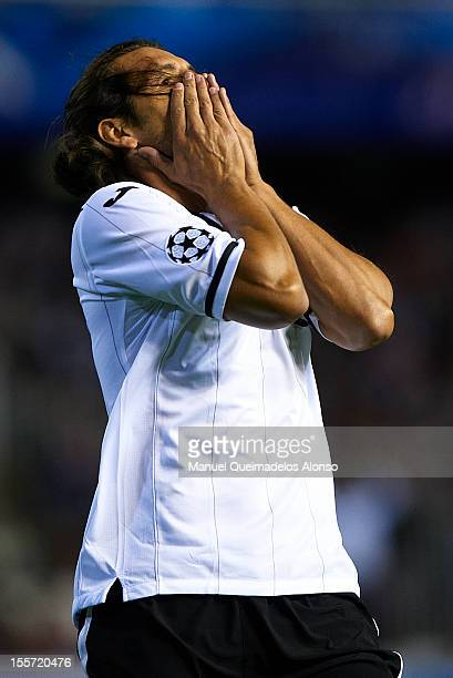 Nelson Valdez of Valencia reacts as he fails to score during the UEFA Champions League group F match between Valencia CF and FC BATE Borisov at...