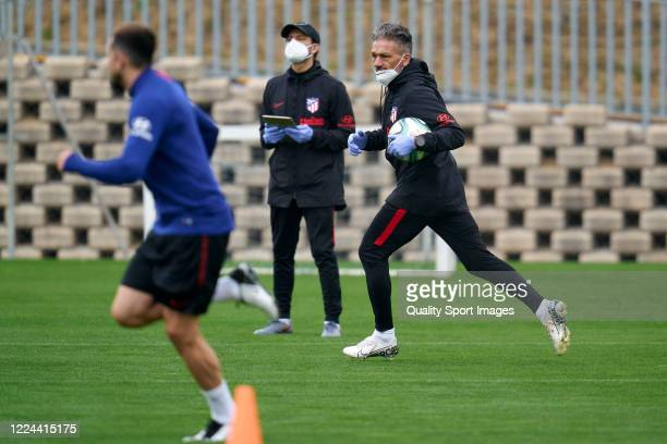 Nelson Vivas assistent coach of Atletico de Madrid gives instructions during a training session at Estadio Cerro del Espino on May 12 2020 in Madrid...