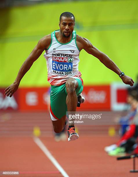 Nelson Évora of Portugal competes in the Men's Triple Qualification during day one of the 2015 European Athletics Indoor Championships at O2 Arena on...