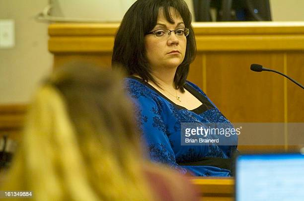 nelson27_bb_6 Anne Mioduski looks toward Shawna Nelson as she testifies at Nelson's trial for the murder of Heather Garraus Wednesday afternoon at...