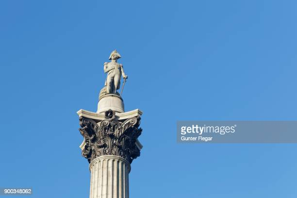 nelsons column, admiral lord nelson, trafalgar square, london, england, united kingdom - nelson's column stock photos and pictures