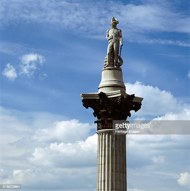 Nelson's Column Trafalgar Square City of Westminster London c2000s The statue of Admiral Lord Nelson by Edward Hodges Baily atop the Corinthian...