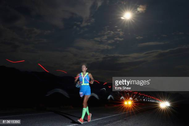 Nelva Valladares runs at night during the STYR Labs Badwater 135 on July 12 2017 in Death Valley California The start of the 135 mile race is at...
