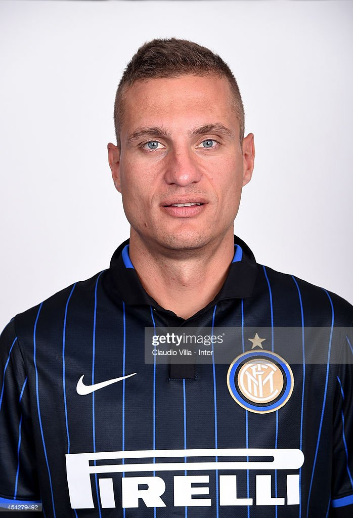 Nemaja Vidic poses during an FC Internazionale photocall at Appiano Gentile on August 12, 2014 in Como, Italy.