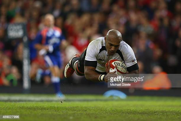 Nemani Nadolo of Fiji dives over to score his sides try during the International match between Wales and Fiji at the Millennium Stadium on November...