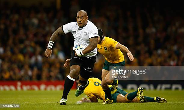 Nemani Nadolo of Fiji makes a break during the 2015 Rugby World Cup Pool A match between Australia and Fiji at Millennium Stadium on September 23...