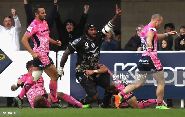 Nemani Nadolo of Montpellier celebrates after scoring their third try during the European Rugby Champions Cup match between Montpellier and Exeter...