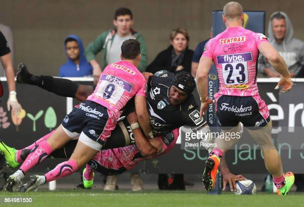 Nemani Nadolo of Montpellier dives in the corner to score their third try during the European Rugby Champions Cup match between Montpellier and...