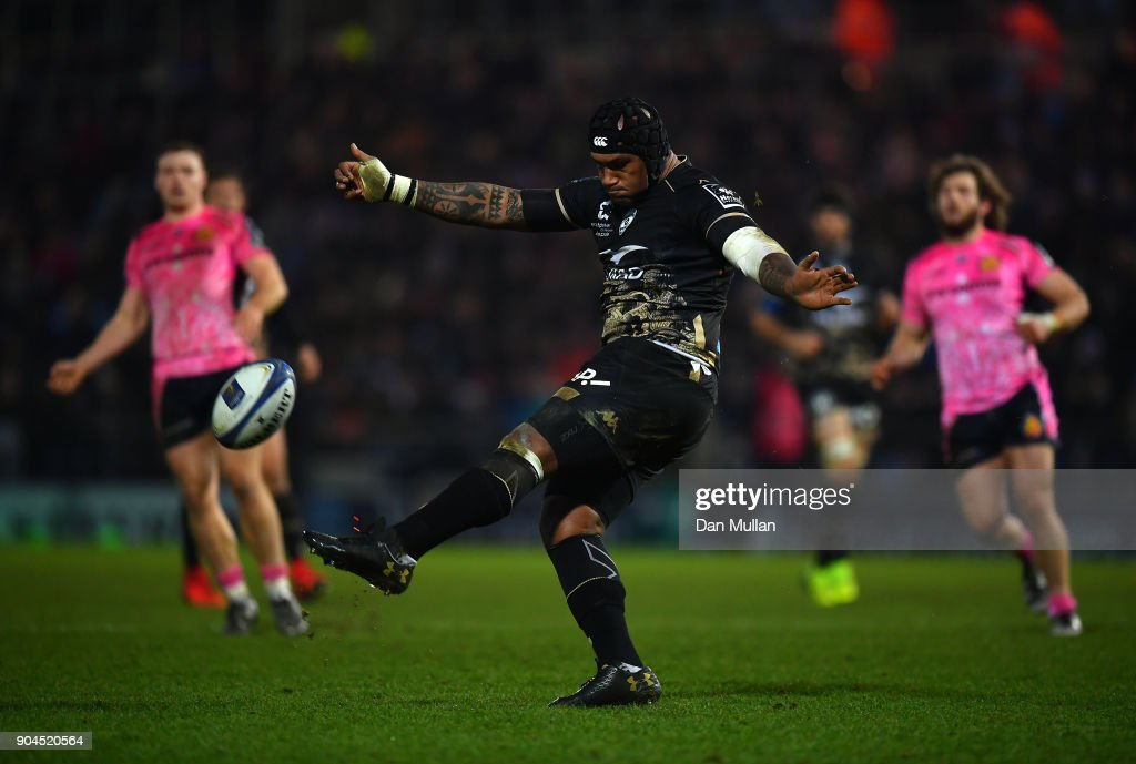 Nemani Nadolo of Montpellier kicks during the European Rugby Champions Cup match between Exeter Chiefs and Montpellier at Sandy Park on January 13, 2018 in Exeter, England.