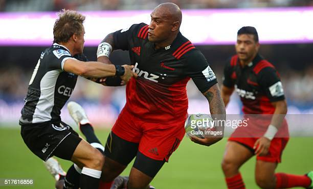 Nemani Nadolo of the BNZ Crusaders during the Super Rugby match between Cell C Sharks and BNZ Crusaders at Growthpoint Kings Park on March 26 2016 in...