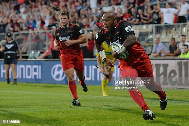 Nemani Nadolo of the Crusaders runs through to score a try during the round four Super Rugby match between the Crusaders and the Kings at AMI Stadium...