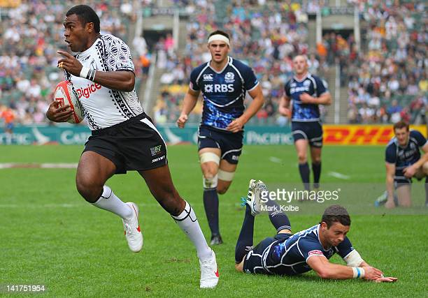 Nemani Nagusa of Fiji scores a try during the pool C match between Fiji and Scotland on day one of the 2012 IRB Hong Kong Sevens at Hong Kong Stadium...