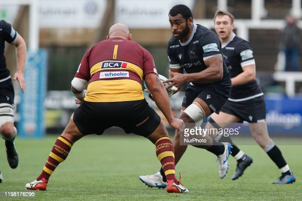 Nemani Nagusa of Newcastle Falcons in action during the Greene King IPA Championship match between Newcastle Falcons and Ampthill amp District at...