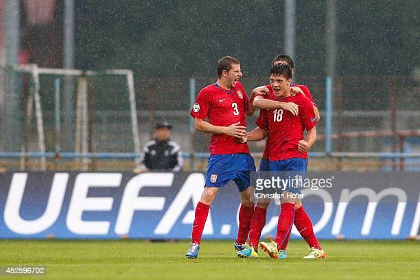 Nemanja Antonov and Luka Jovic of Serbia celebrate after scoring during the UEFA Under19 European Championship match between U19 Germany and U19...