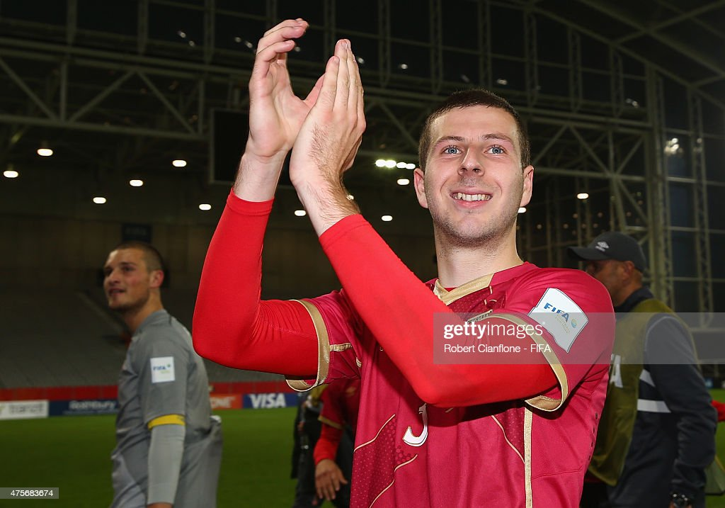 Nemanja Antonov of Serbia celebrates after Serbia defeated Mali during the FIFA U-20 World Cup New Zealand 2015 Group D match between Serbia and Mali at Otago Stadium on June 3, 2015 in Dunedin, New Zealand.