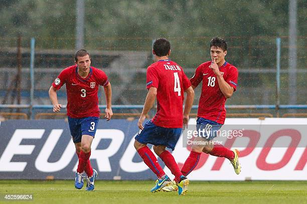 Nemanja Antonov Sasa Zdjelar and Luka Jovic of Serbia celebrate after scoring during the UEFA Under19 European Championship match between U19 Germany...