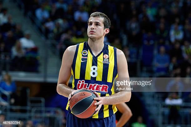 Nemanja Bjelica #8 of Fenerbahce Ulker Istanbul in action during the Turkish Airlines Euroleague Basketball Top 16 Date 12 game between Fenerbahce...