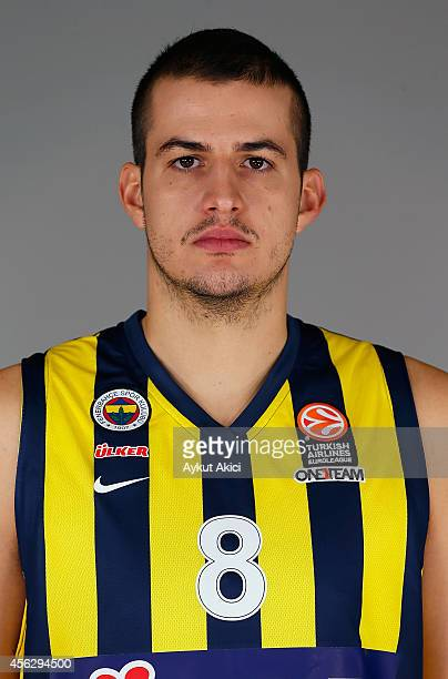 Nemanja Bjelica #8 poses during the Fenerbahce Ulker Istanbul 2014/2015 Turkish Airlines Euroleague Basketball Media Day at Ulker Sport Arena on...